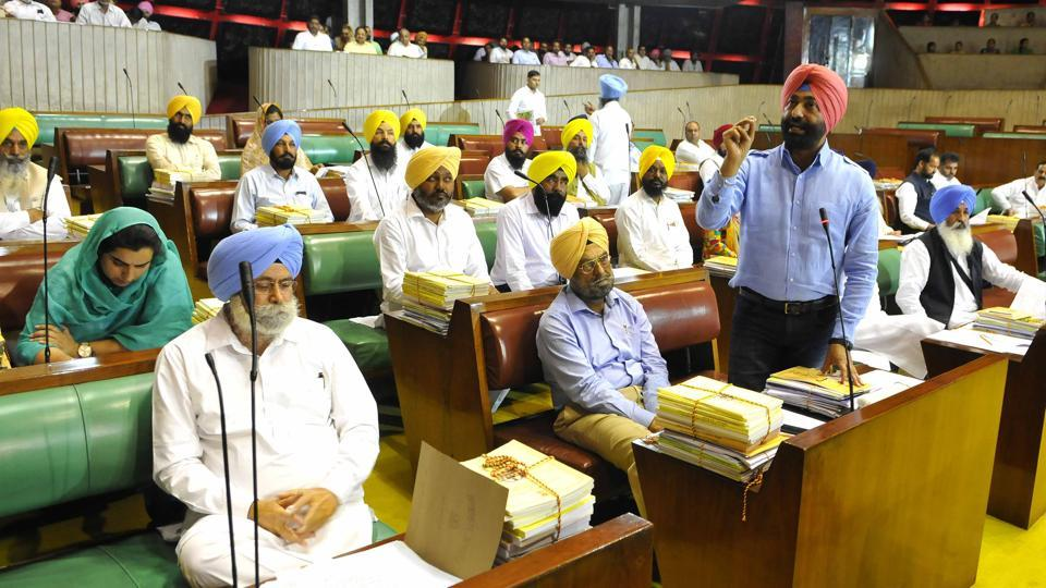 AAP's Sukhpal Khaira speaks in the Punjab Vidhan Sabha on Wednesday, March 29.