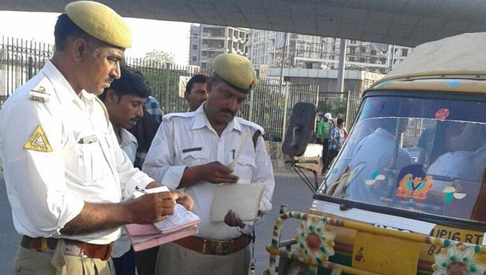 The traffic police on Tuesday seized three autorickshaws and penalised 52 persons for violating traffic rules in Sector 37 of Noida.