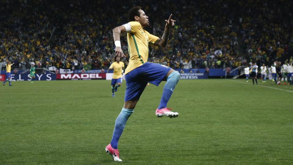 Barzil's Neymar celebrates after scoring against Paraguay during their 2018 FIFA World Cup qualifier match in Sao Paulo.