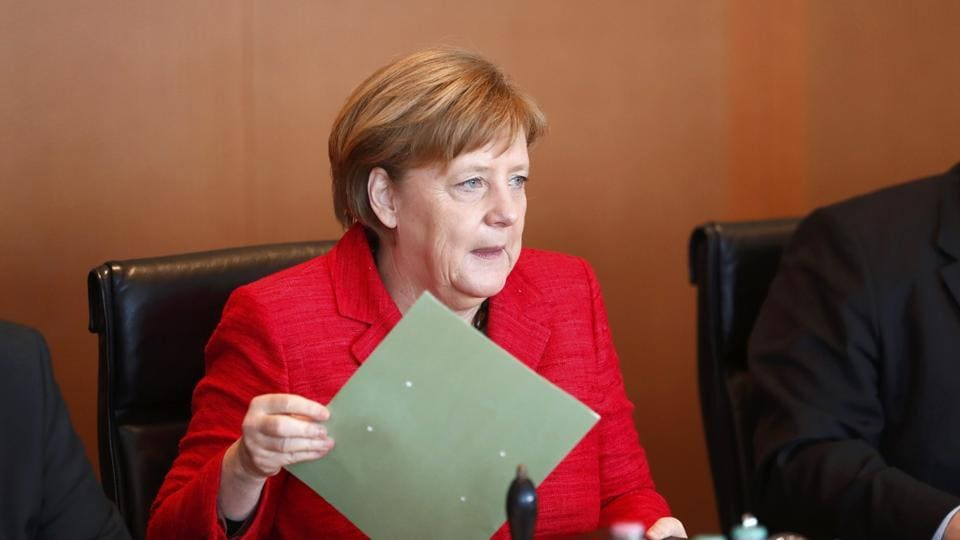 German Chancellor Angela Merkel attends a cabinet meeting at the Chancellery in Berlin, Germany, March 29, 2017.