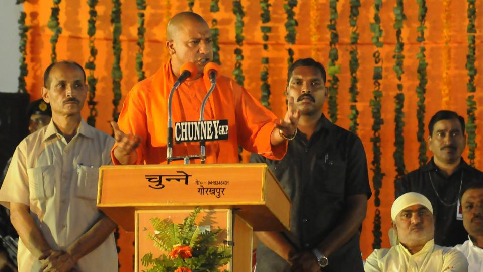 Uttar Pradesh chief minister Yogi Adityanath addresses the crowed during a felicitation programme at Maharana Pratap ground in Gorakhpur on Saturday.