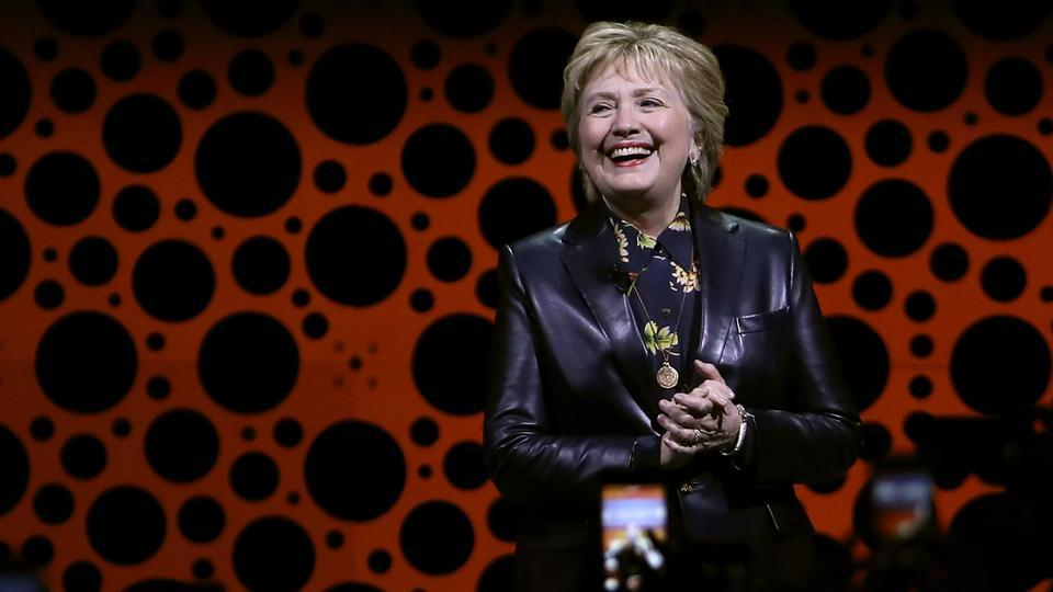 Former Secretary of State Hillary Clinton delivers a keynote address during the 28th Annual Professional Business Women of California conference on March 28.