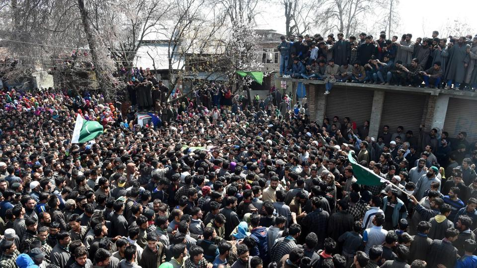 The militants fled from the spot, mingling with protestors who were demonstrating against the killing of three civilians in a firing by security forces in Chadoora area of Budgam district on Tuesday.