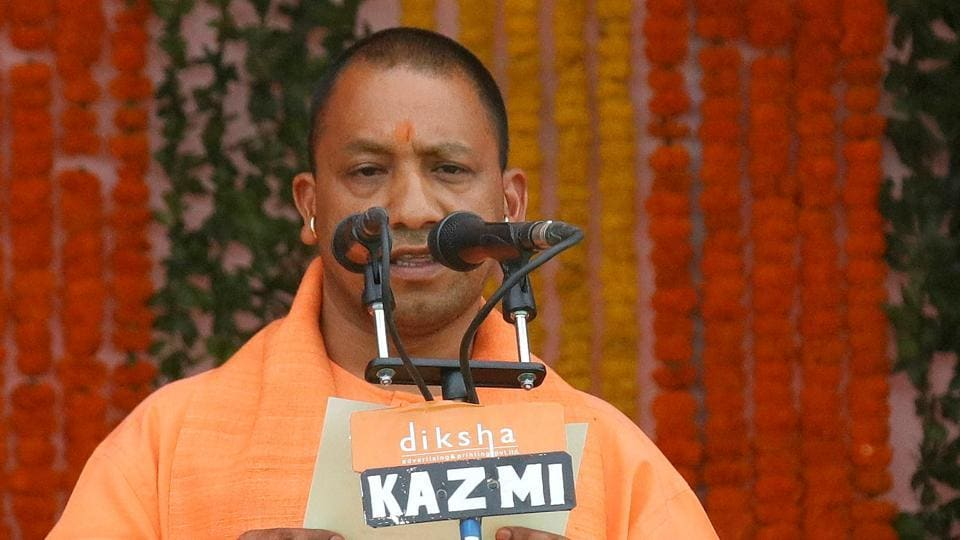 Yogi Adityanath taking oath as the new chief minister of Uttar Pradesh in Lucknow, on March 19, 2017.