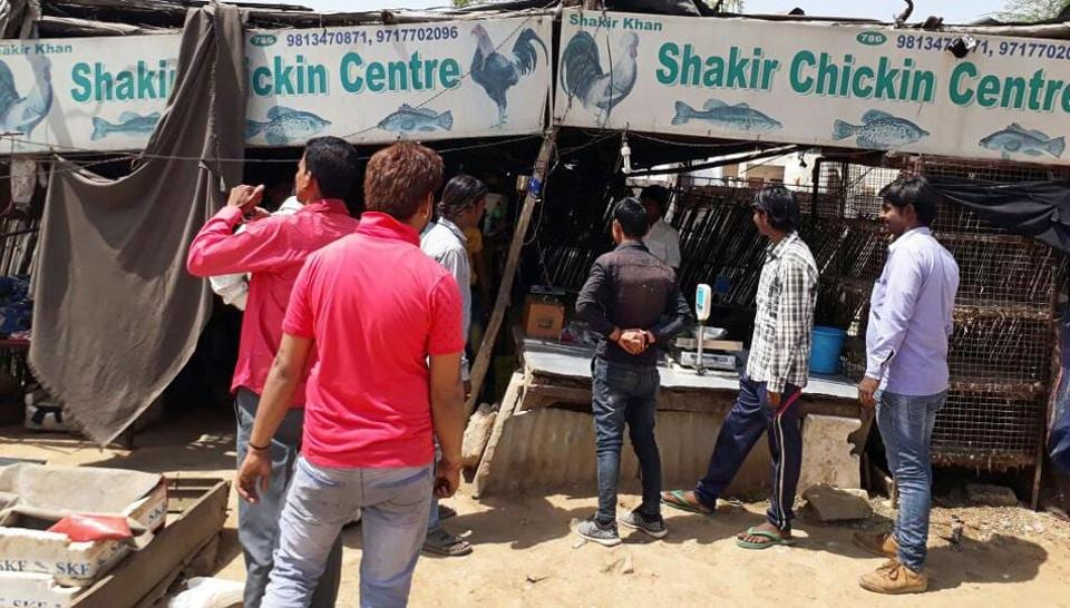 Closed meat shops in Gurgaon on Wednesday.