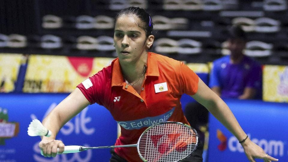 Saina Nehwal eased to a 21-10, 21-17 win over Hsin Chia Lee to advance to the second round of the Indian Open on Wednesday.