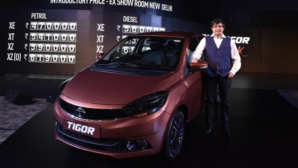 Tata Motors have launched their much anticipated sub-4 metre compact sedan Tigor at a starting price tag of Rs 4.7 Lakh for the petrol variant and Rs 5.60 Lakh for the diesel variant (all prices ex-showroom, Delhi). (Vipin Kumar/HT PHOTO)