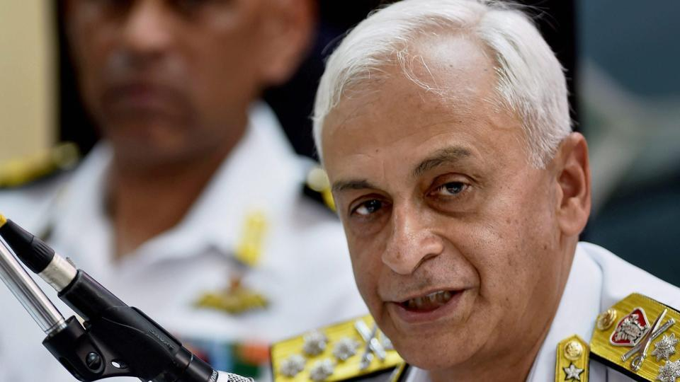 Navy chief admiral Sunil Lanba addresses the media during the de-induction of India's long range maritime patrol aircraft, TU-142M, at the INS Rajali Naval Air Station in Arakkonam on Wednesday.