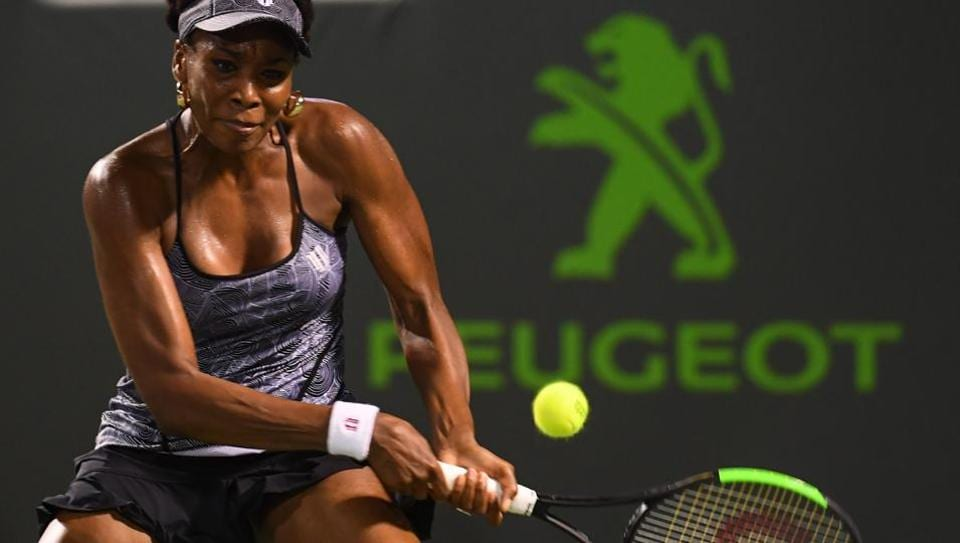 Venus Williams hits a forehand shot during a match against Angelique Kerber at Miami Open.