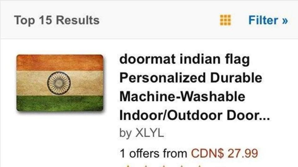 Screen grab of the listing for Indian-flag themed doormats on an Amazon website.