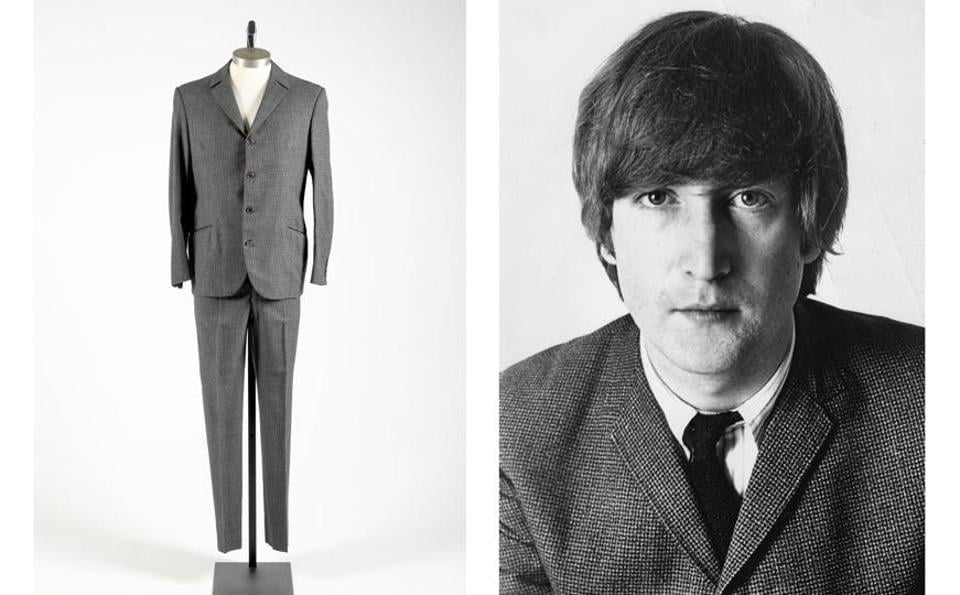 A photo of John Lennon wearing the suit and COA from Madame Tussauds, where it was displayed.