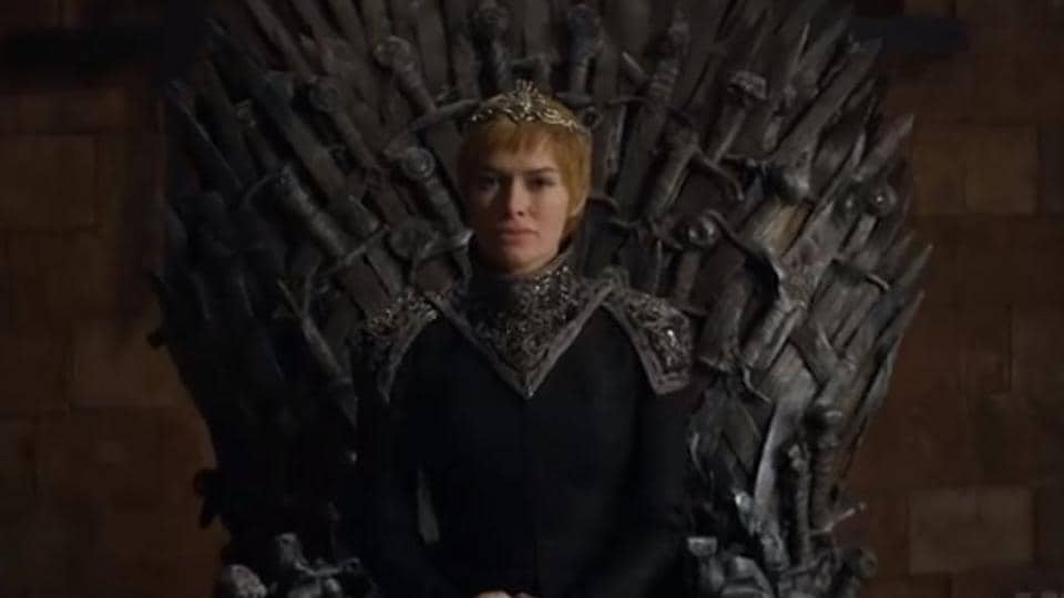 Cersei Lannister (Lena Headey) is seated on the Iron Throne as shown in the newly-released promo for the upcoming season of the Game of Thrones franchise.