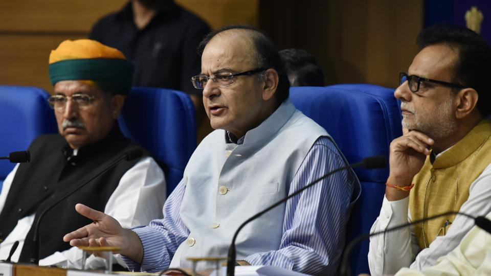 Finance minister Arun Jaitley at a meeting with his officials.