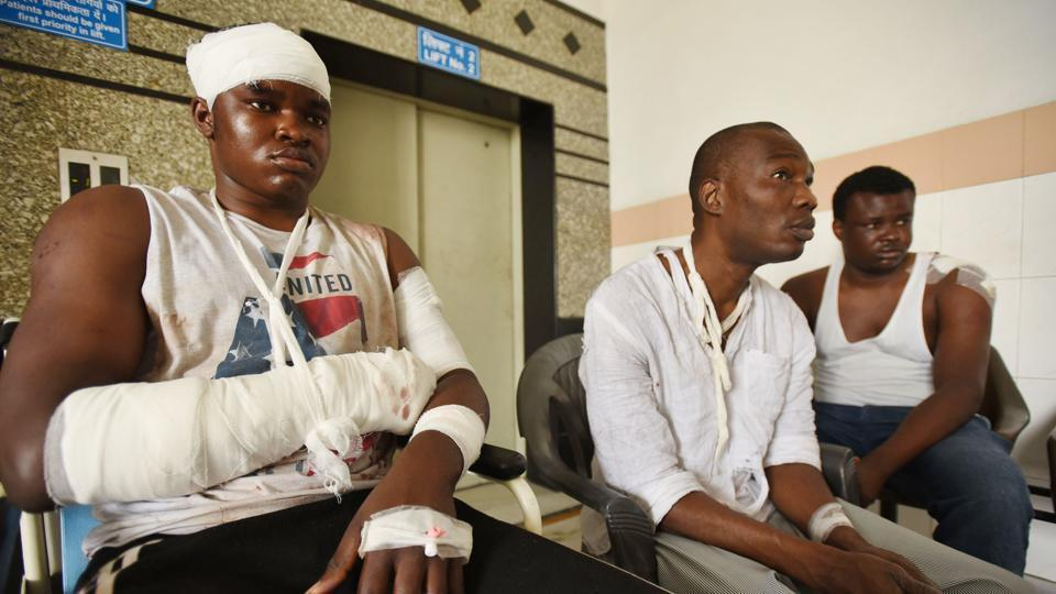 African students who were injured in Monday's violence at a Noida hospital.