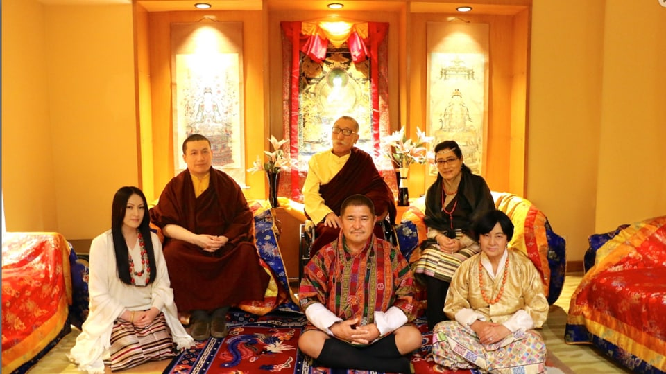 Thaye Dorje (upper left) and Rinchen Yangzom (lower left) were married in a private ceremony in Delhi.