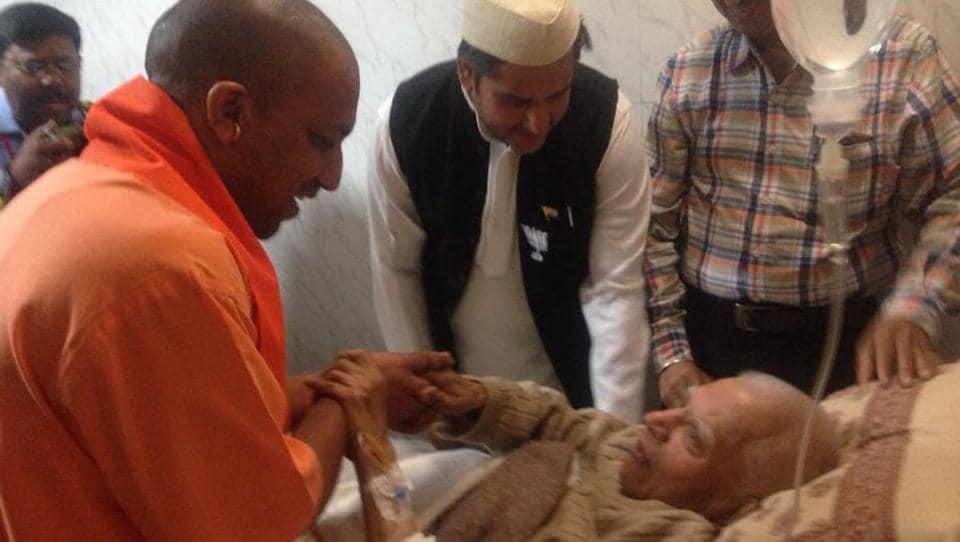 Chief minister Yogi Adityanath met former CM of UPand Uttarakhand ND Tiwari in Lucknow on Wednesday.