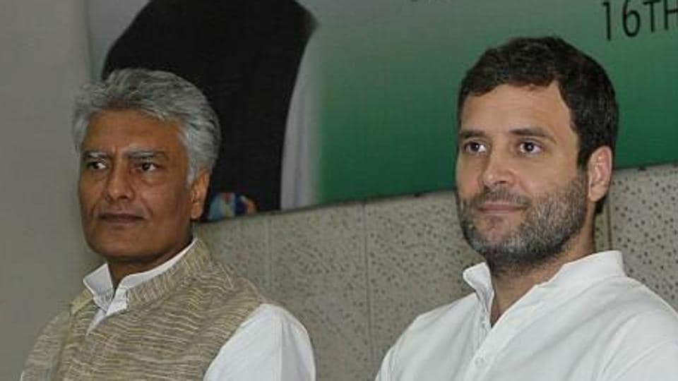 Sunil Jakhar during a review meeting with Congress vice-president Rahul Gandhi.