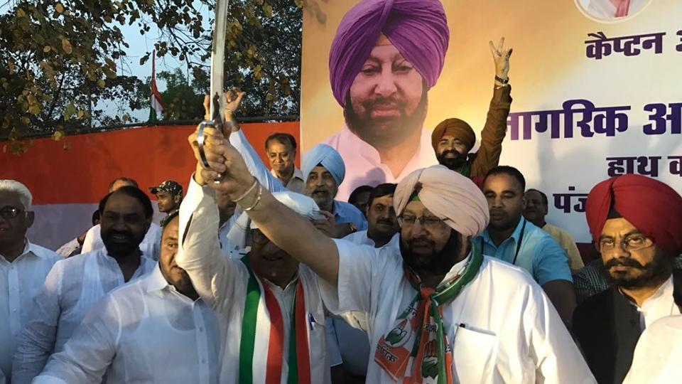 Punjab chief minister Captain Amarinder Singh campaigning in New Delhi on Thursday.