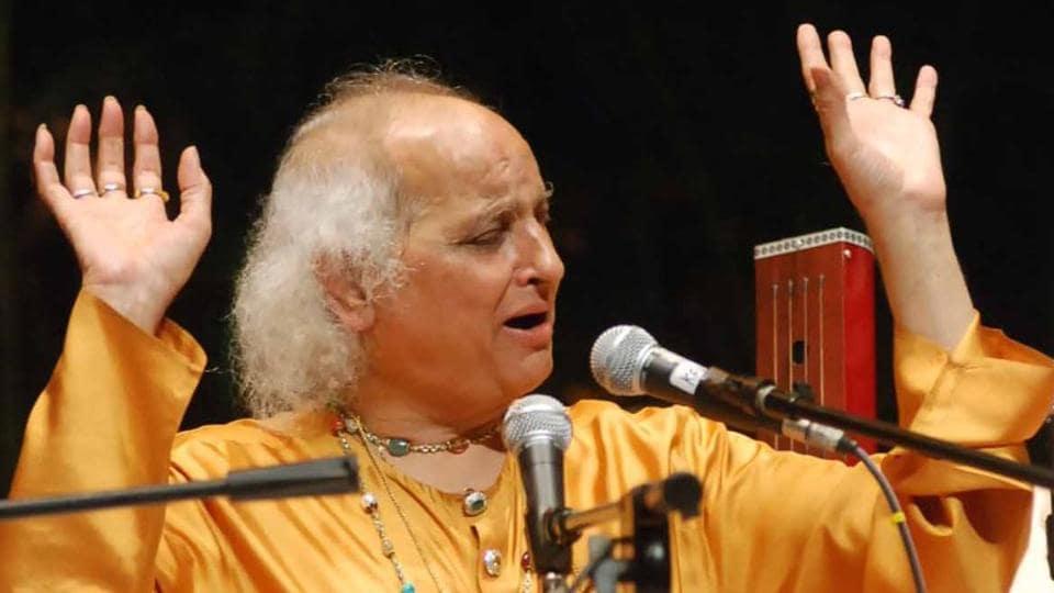 Hindustani classical vocalist Pandit Jasraj performing at a music festival in Delhi.