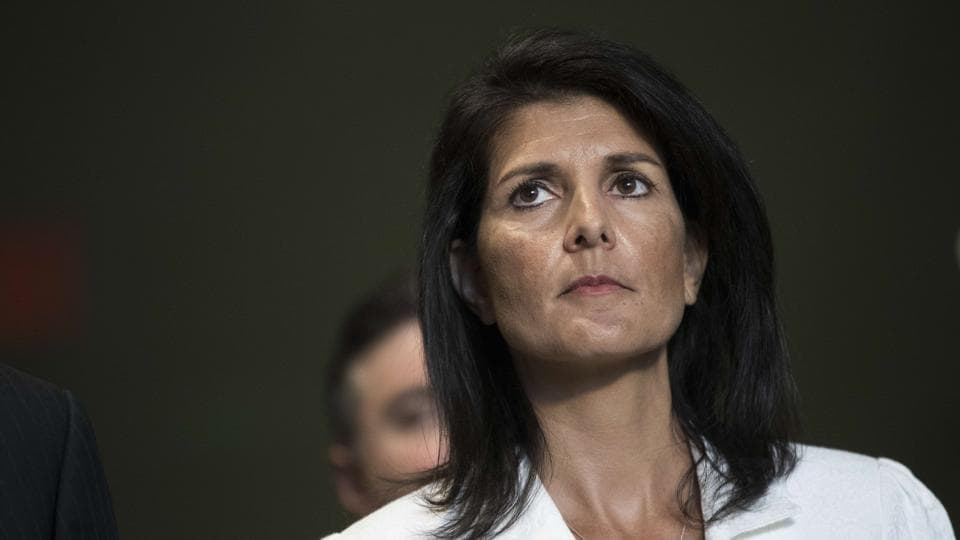 Nikki Haley speaks to reporters at the United Nations headquarters in New York City.