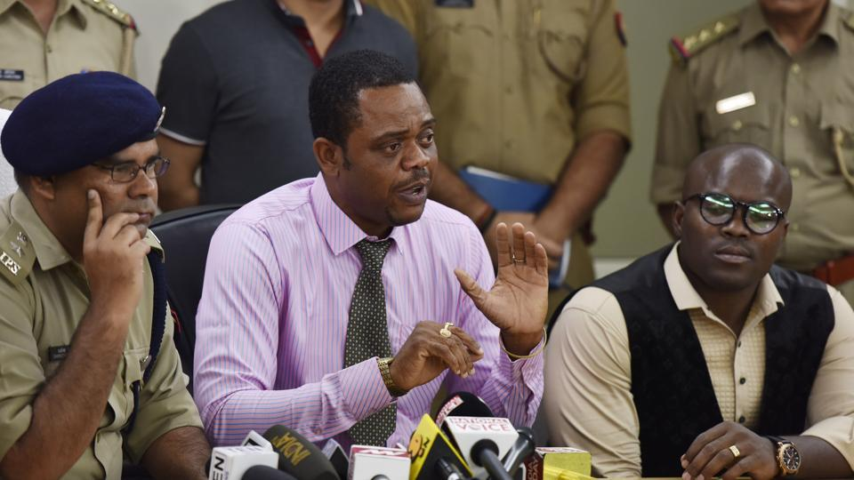 Representative members of Africans and Kenyan high commission along with Dharmendra Singh Yadav ,SSP Gautam Budh Nagar, during a press conference in Greater Noida on Thursday.