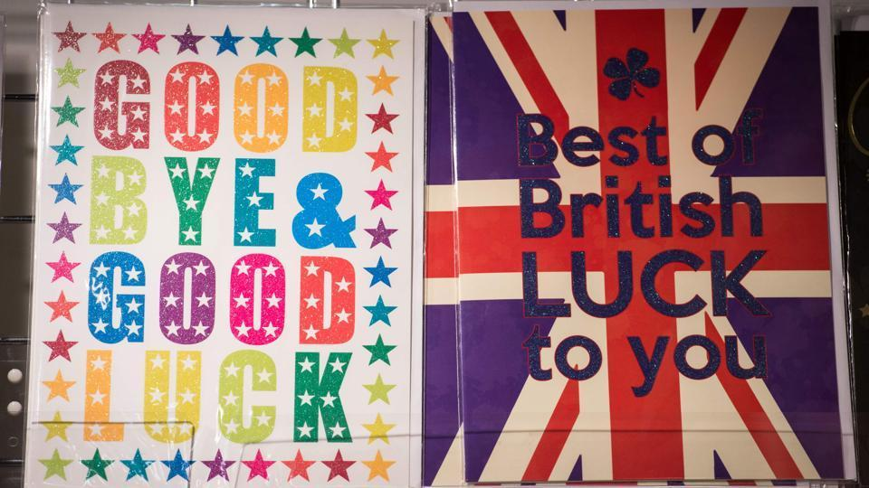 Greeting cards bearing good luck messages are displayed for sale in a stationery shop in Westminster Underground station in London, England on March 29, 2017. Britain formally launched the process for leaving the European Union on March 29, a historic move that has split the country and thrown into question the future of the European project.