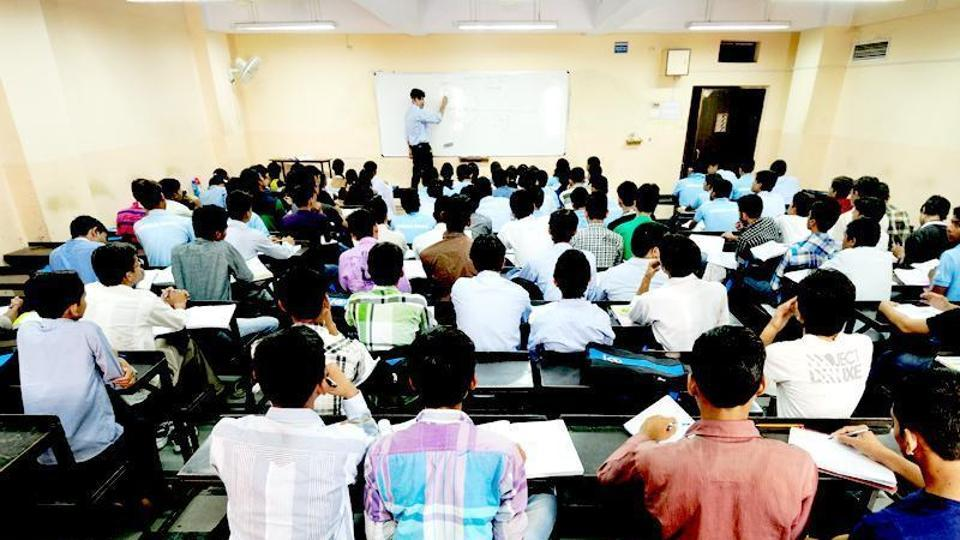 Students at a coaching institute in Kota city which has been grappling with rising cases of suicides by stressed-out students.