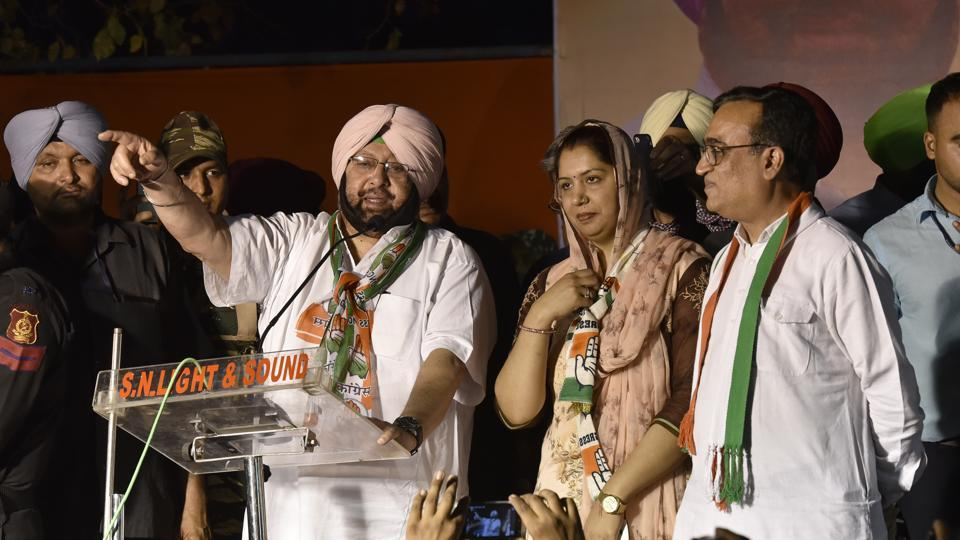 Punjab chief minister Captain Amarinder Singh at an event organised by the local Congress to felicitate him in Subhash Nagar on Thursday.
