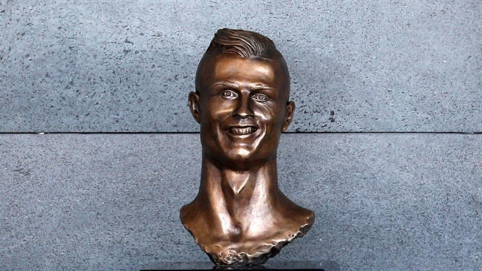 A bust of Cristiano Ronaldo is seen before the ceremony to rename Funchal Airport as Cristiano Ronaldo Airport in Funchal. The bust has led to hilarious reactions. (REUTERS)