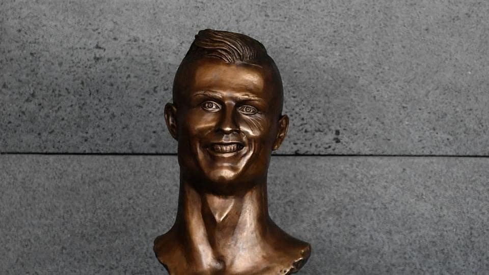 The bronze bust of Ronalso with a toothy grin and bulging eyes nstantly created a laugh on social media because of its debatable likeness. (AFP)