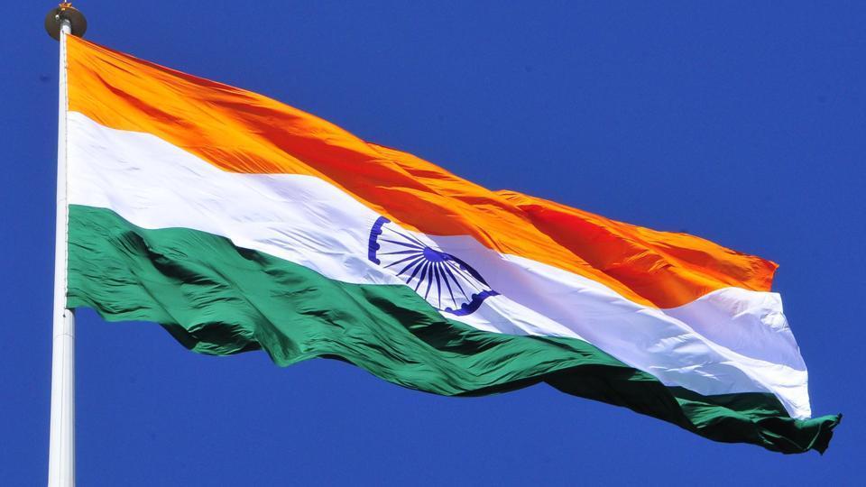 The national flag at the Attari border near Amritsar.