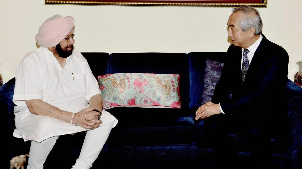 Punjab chief minister Captain Amarinder Singh during the meeting with Japanese ambassador Kenji Hiramatsu in New Delhi on Thursday.