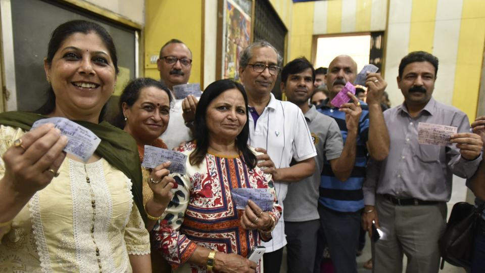 People show ticket for the last show at Regal cinema in New Delhi that shut down on Thursday.