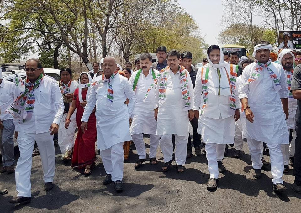 Congress and NCP leaders during the first phase of Sangharsh Yatra in Nagpur last month.