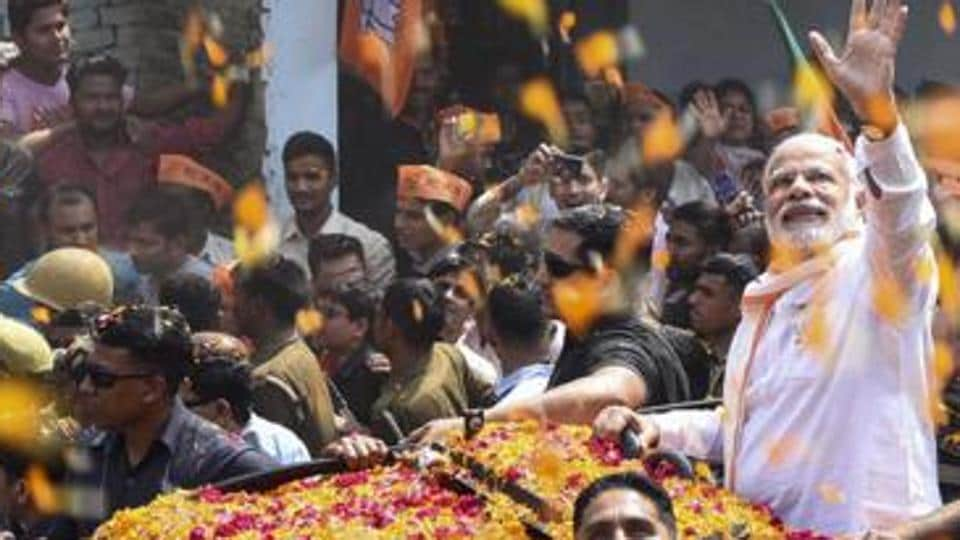 Prime Minister Narendra Modi during the road show in Varanasi on March 4, 2017. (