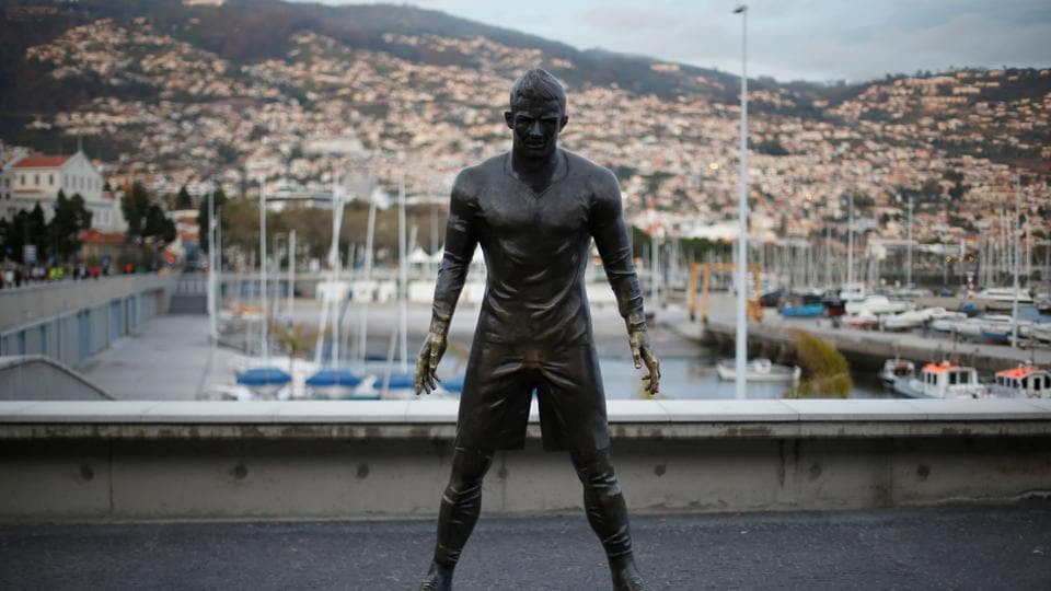 A statue of  Ronaldo stands in front of the CR7 museum in Funchal. (REUTERS)