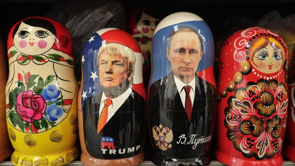 Traditional Russian Matryoshka dolls depicting US President Donald Trump and Russian President Vladimir Putin at a souvenir shop in St Petersburg in Russia.