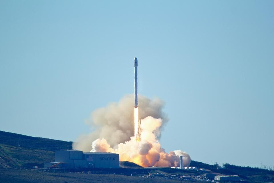 SpaceX's Falcon 9 rocket with 10 satellites launching at Vandenberg Air Force Base, California in January this year.