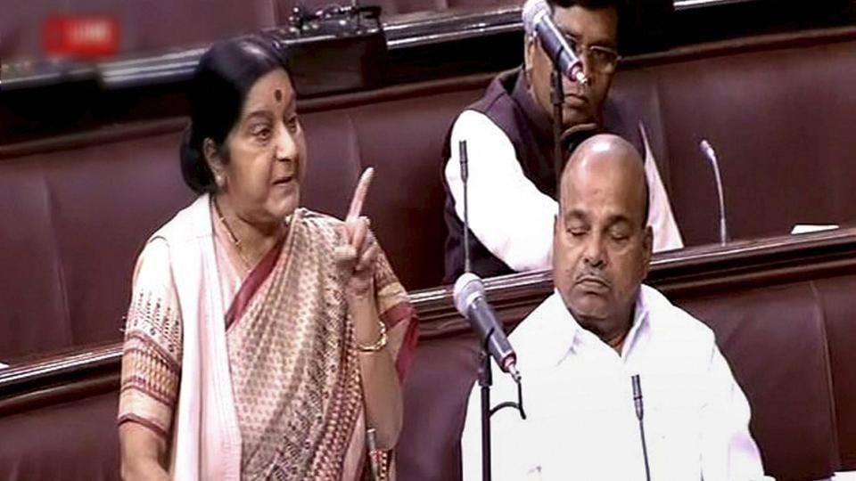 External affairs minister Sushma Swaraj speaks in the Rajya Sabha.