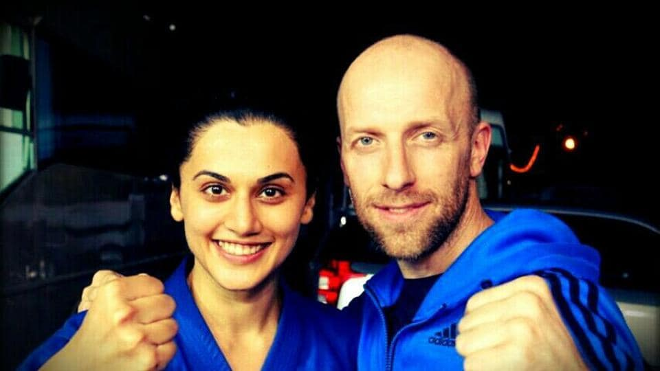 Taapsee Pannu poses with Cyril Raffaeli, the French traceur, martial artist and stuntman worked with her for Naam Shabana.