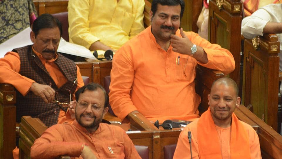 Most BJP members of the UP assembly sport saffron on Thursday perhaps taking a cue from chief minister Yogi Adityanath