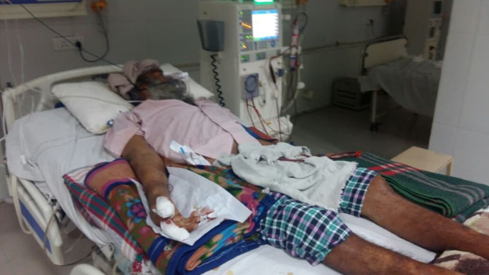 A patient under treatment in the ICU of Guru Gobind Singh Medical College and Hospital.