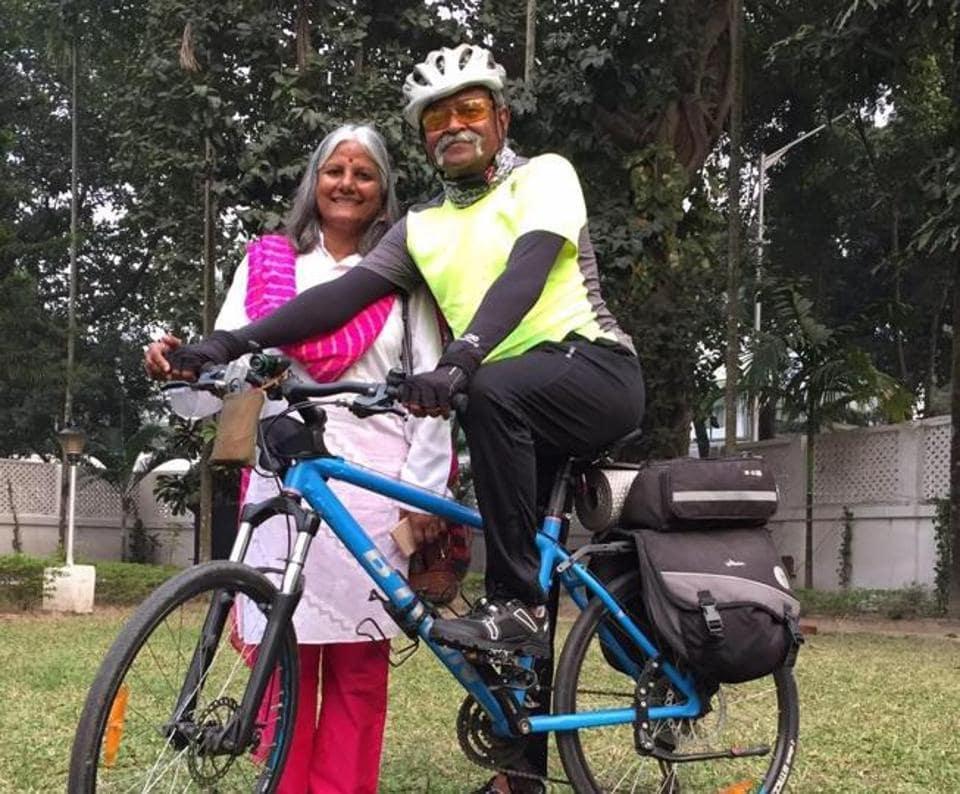 Maj Gen Somnath Jha (retd) with wife Chitra.