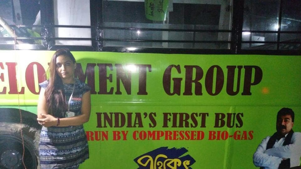 The bus was decked up at Ultadanga in the northern fringes of Kolkata on Thursday evening.