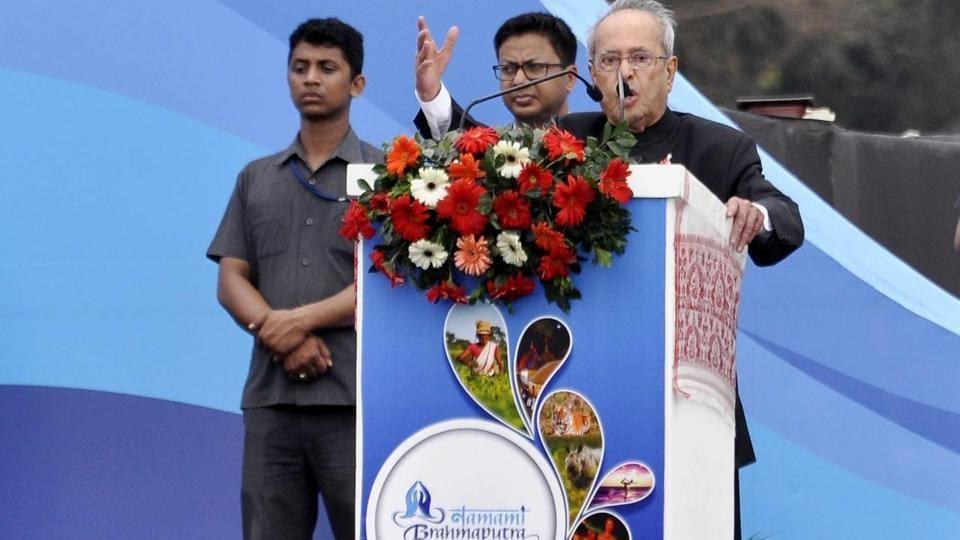 President Pranab Mukherjee speaking at the inauguration of Namami Brahmaputra river festival.