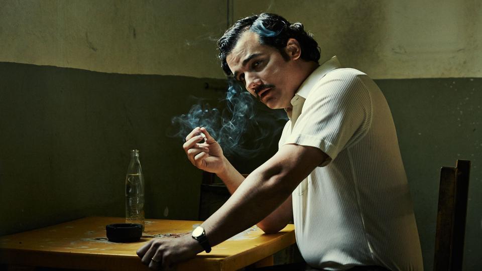 A still from Narcos, a Netflix original series