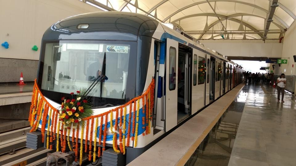 The first train on the line was flagged off from Dlf Phase 1 metro station at 2 pm.