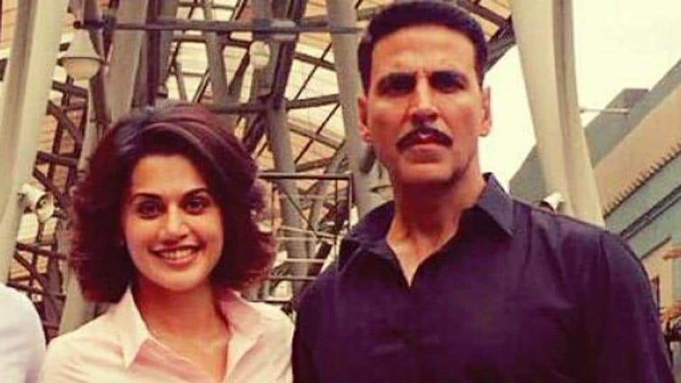 Akshay Kumar and Taapsee Pannu on the sets of Naam Shabana.