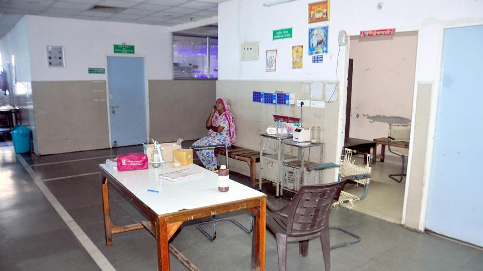 An empty nursing station at the paediatric ward of at Guru Nanak Dev Hospital, Amritsar on Thursday.