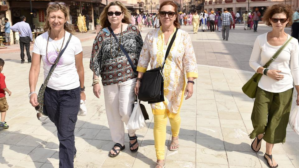 American tourists near the Golden Temple in Amritsar. New visa rules unveiled by India are expected to boost medical and